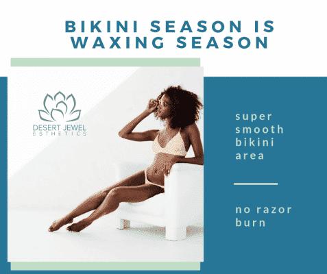 Bikini Season is Waxing Season- elegant woman in bikini reclining, minimal clean, design