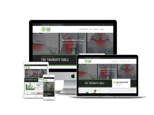Website design by Brilliant Blue Designs for The Trainer's Table